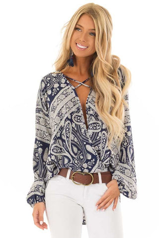 Wrapped Chiffon Criss Cross Neck Long Sleeve Blouse