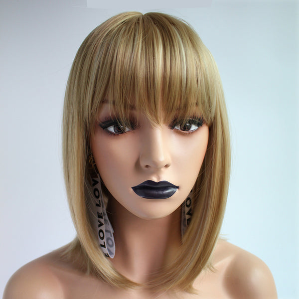 1pc Natural Short Bob Hair Wig With Bangs