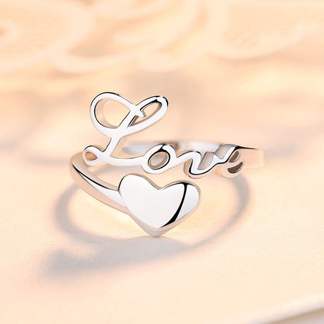 Sterling Silver 925 Lettering Love Wrong Ring