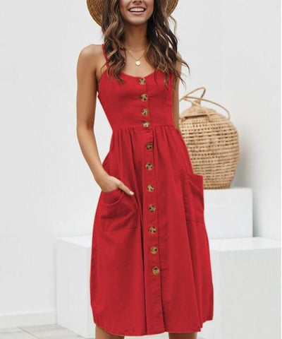 Bohemian Floral Double Pocket Beach Dress for Women