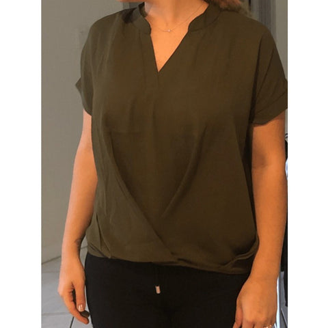 Casual Notch neck Draped Short Sleeve Womens Blouse