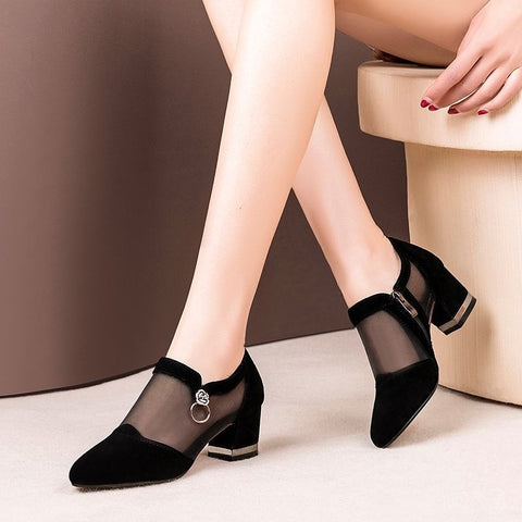 Elegant Mesh Breathable Side Zipper Thick Heels Shoes