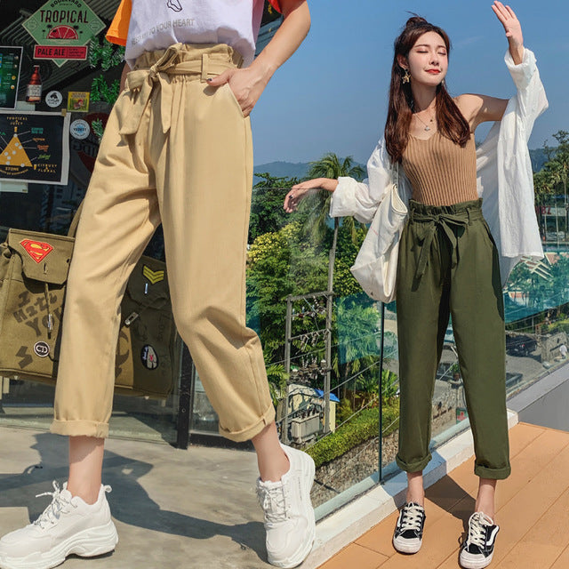 Women High Waist Wild Style Straight Pants