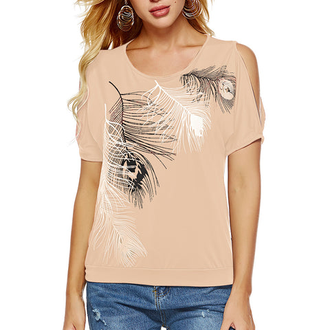 Round Neck Feather Printed Top