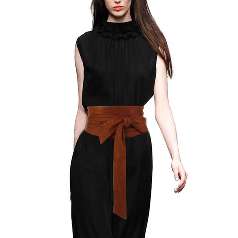 Wide Suede Ladies Knotted Waistband