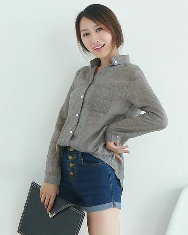 Collar Solid Long Sleeve Pocket Blouse