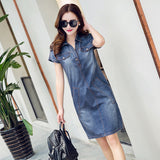 Jeans Pleated Neckline Pockets Front Short Dress