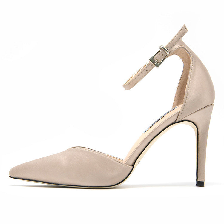 Point Toe Ankle Strap Stiletto Heels