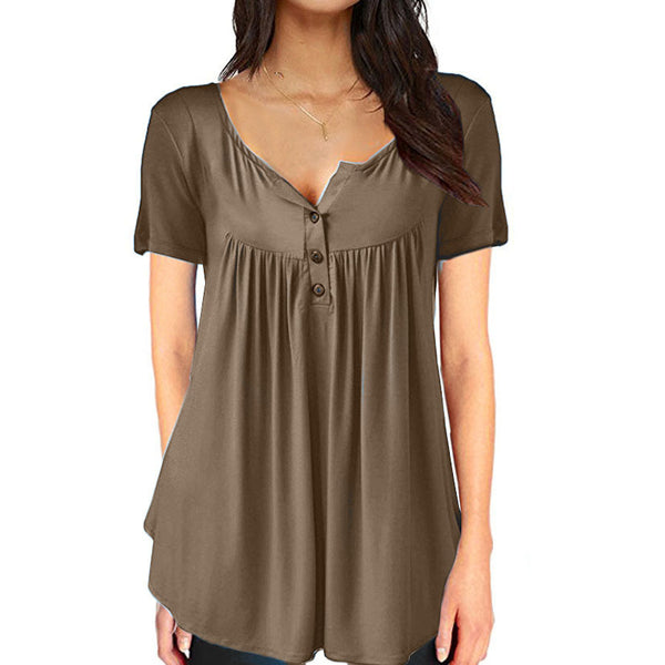 Short Sleeve Loose Button Pleated Womens T-Shirt