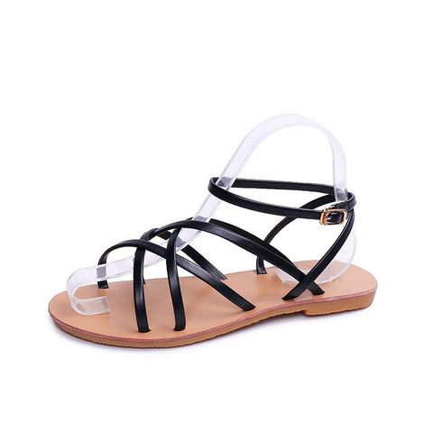 Toe Post Cross Strap Flat Sandals