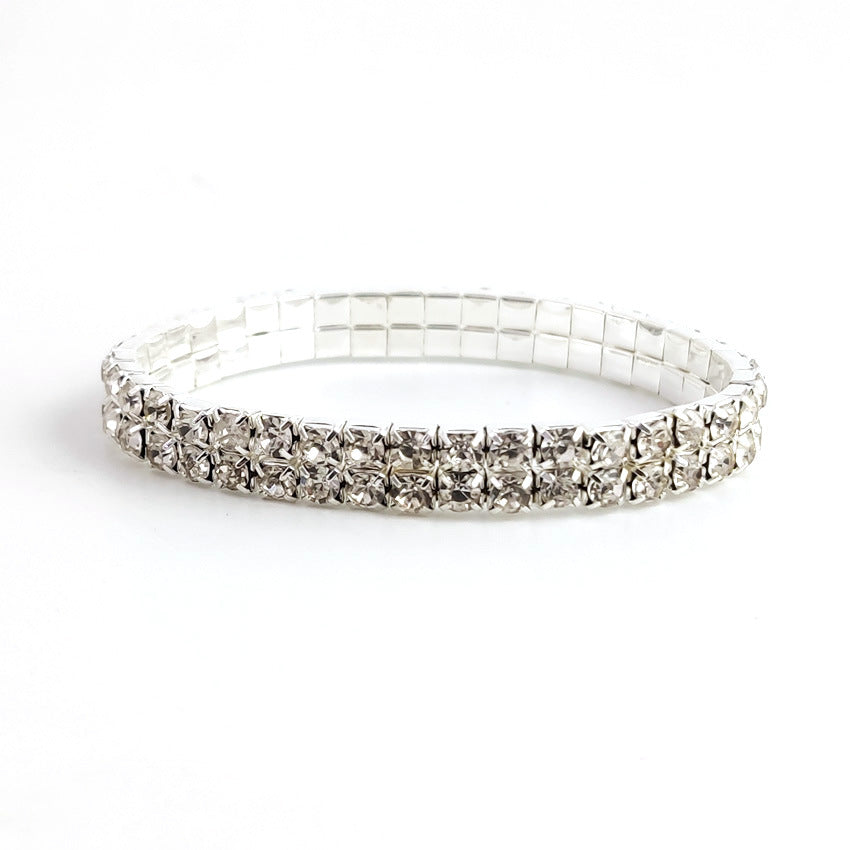 Multi-row Drill Silver Elastic Diamond Bracelet for Women's