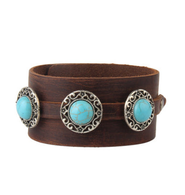 Leather Inlaid Turquoise Bracelet