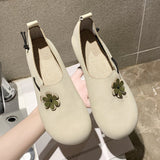Flat Loafers Petal Embellishment Round Toe Shoes