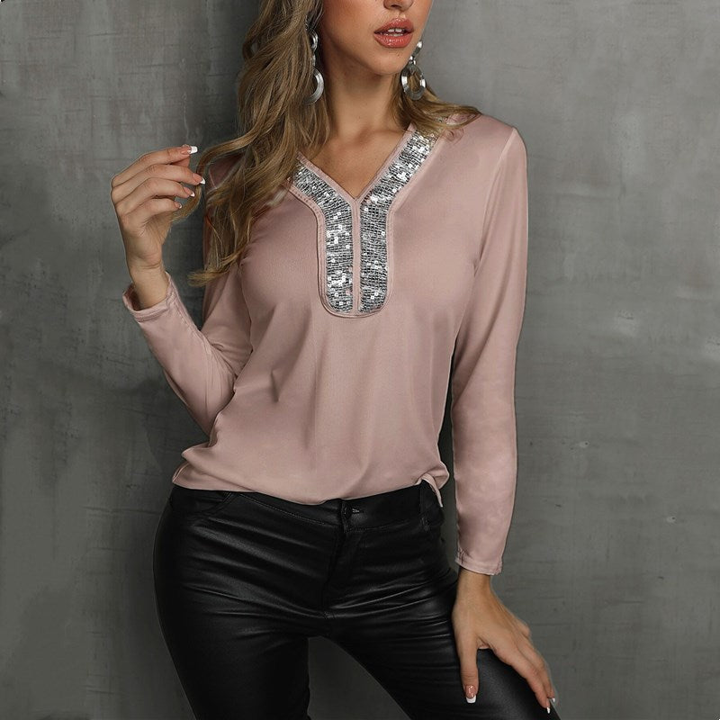 V-Neck Sequin Long Sleeve Blouse