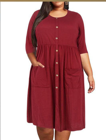 Big Size Loose Pocket Solid Women Dress