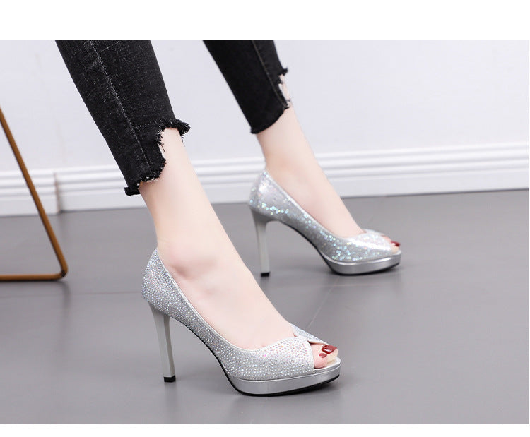 Women's High Heel Stiletto Waterproof Platform Shoes
