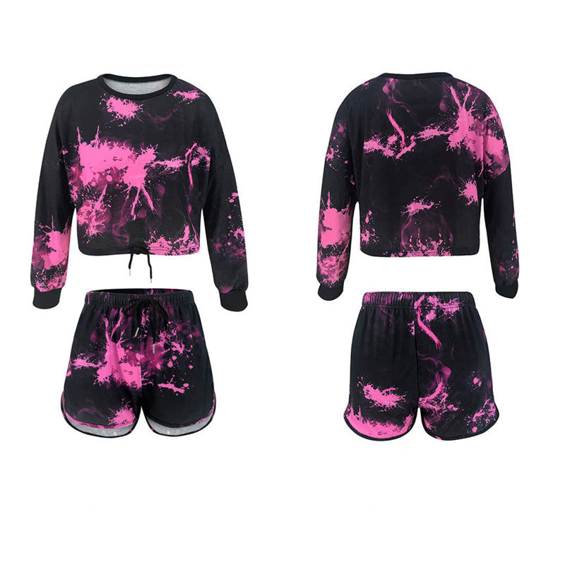 Tie Dye Print Long Sleeve Tee & Wide Leg Shorts Casual Womens Set