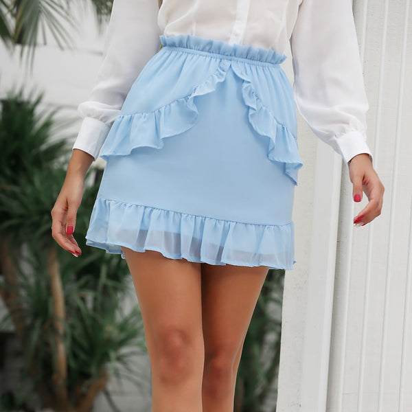 Chiffon Asymmetrical Layered High Waist Short Skirt