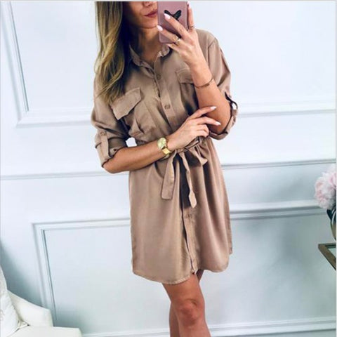 Collar Buttoned Front Roll Tab Sleeve Short Dress