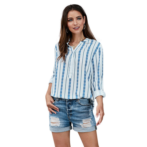 Loose V-Neck Striped Womens Blouse