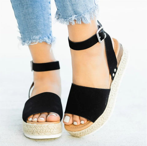 Open Toe Ankle Strap Flat Espadrille Sandals
