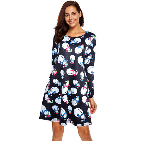 Womens Christmas Party Multi-pattern Print Dress