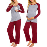 Casual Short Sleeve Round Neck Breastfeeding Pajamas