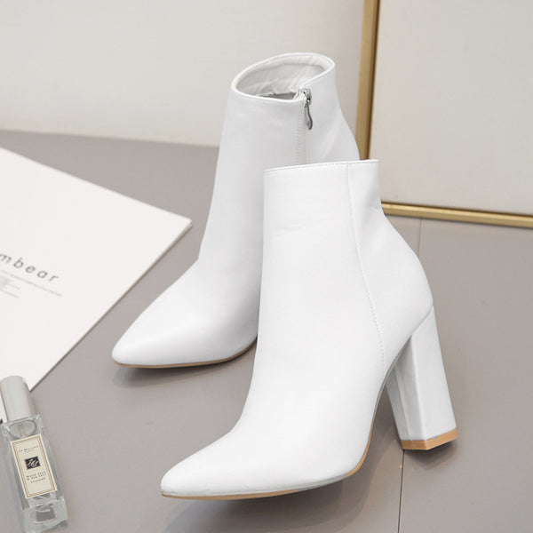 Side Zip Chunky White Leather Boots