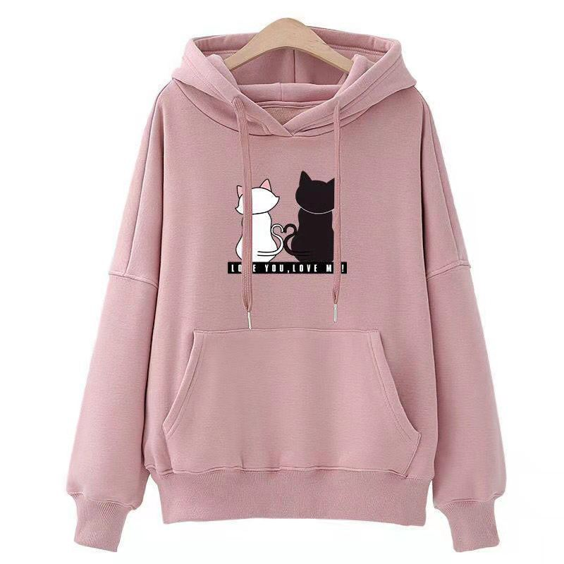 Lazy Cat Print Loose Hooded Sweatshirt For Womens