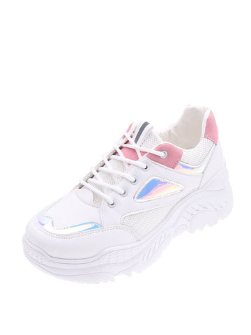 Lace-up Front Holographic Panel Chunky Sneakers