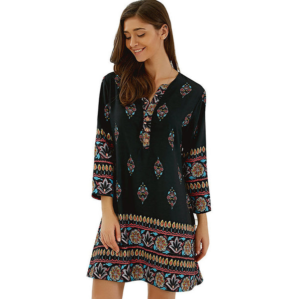 Casual Floral Print Long Sleeve Mini Dress
