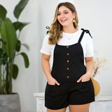 Tie Knot Straps Front Buttons Overall Shorts