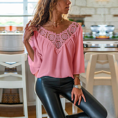 Loose Chiffon Lace Three-Quarter Sleeve Womens Blouse
