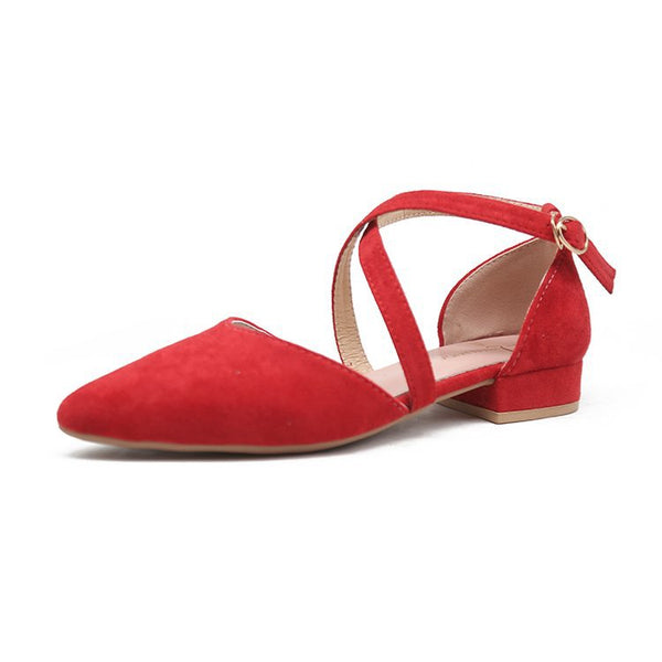 Pointed Toe Buckle Strap Suede Flats