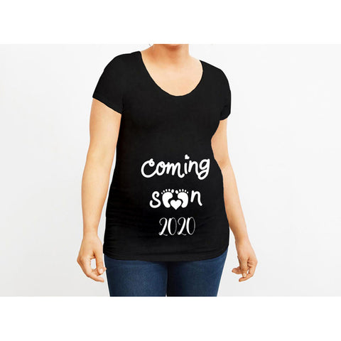 Funny Short Sleeve Round Neck Maternity Top