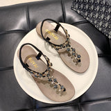 Rhinestone Decor Thong Sandals