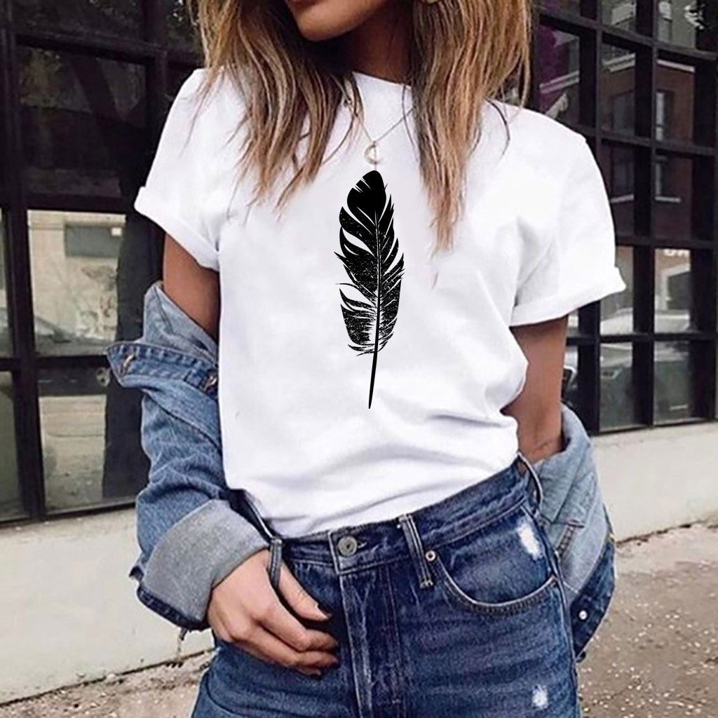 Round Neck Feather Print Solid T-Shirt
