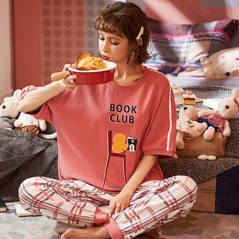 Casual Loose Round Neck T-Shirt & Long Pants Pajama