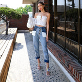 Denim Trousers For Women High Waist Hit Colors Patchwork Pockets