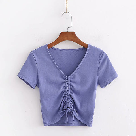 Ribbed Solid V-Neck Rib-Knit Tee