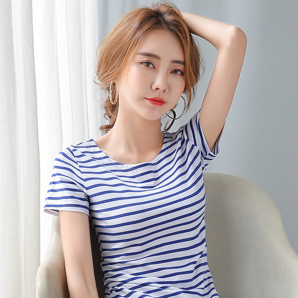 Striped Round Neck Short-Sleeve Womens Top