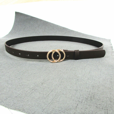 Double-Circle Gold Buckle Belt