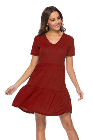 Soft Loose V-Neck Ruffle Hem Short Dress