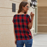 Checkered Twist V-Neck Batwing Sleeve Blouse