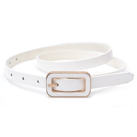 Rectangular Buckle Skinny Waist Belt