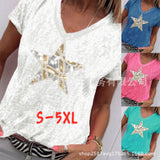 V-Neck Short Sleeve Embroidered Print Tee