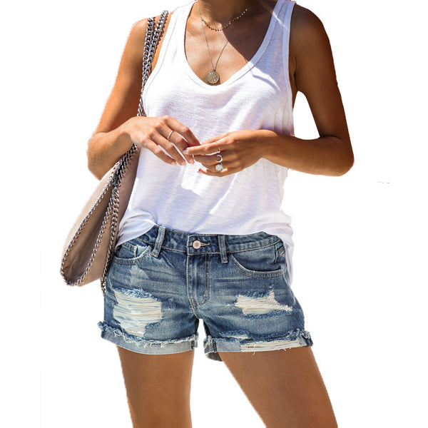 Ripped Rolled Womens Denim Shorts