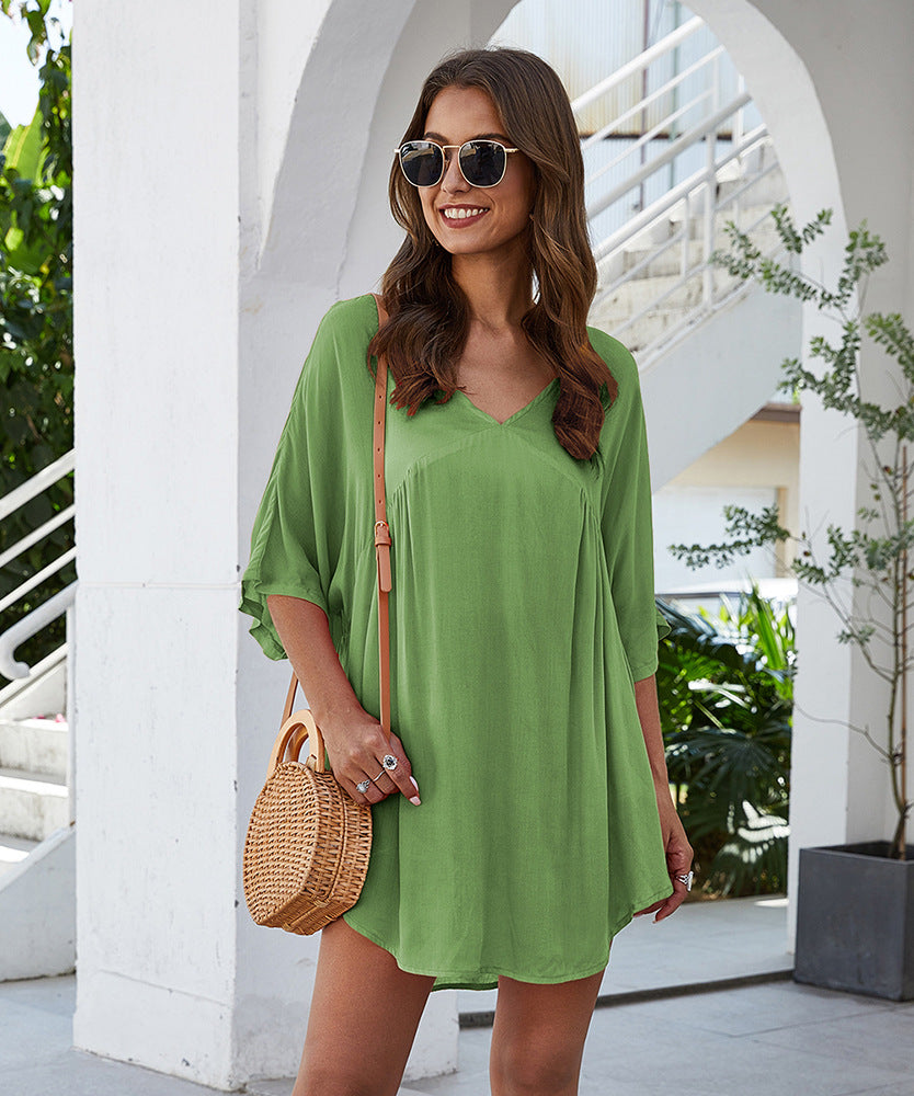 Solid Batwing Sleeve Curved Hem Tunic Blouse