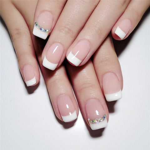 24pcs Two Tone Fake Nail & 1pc Double-side Tape