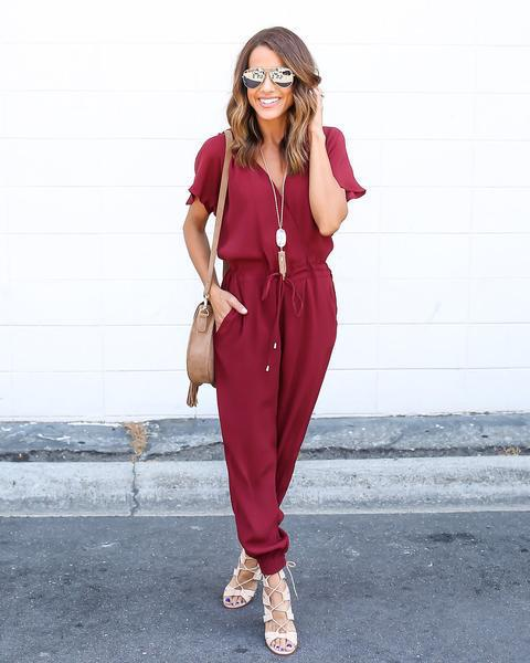Loose Solid Short Sleeve V-Neck Jumpsuit